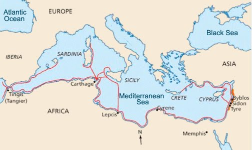 Phoenician 's map route